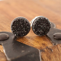 Sparkling Starry Night Black Druzy and Sterling Silver Stud Earrings