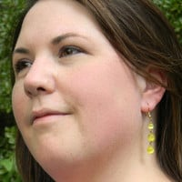 Yellow Cat's Eye Dangle Beaded Earrings