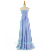 Blue Long Chiffon Bridesmaid Dress Cheap Mint Coral Peach Red Grey Black Prom/Homecoming/Party/Cocktail Dress Wedding Party Dress 2014