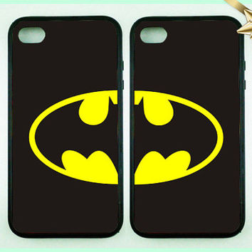 Batman Case - Double cases best friends forever iphone - iphone 5- iphone 4 and 4s -iphone 5s- iphone 5c - bff iphone case