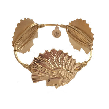 Bourbon & Boweties Micanopy Indian Head Bangle - GOLD