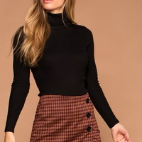 Sierra Rust Plaid Button Skort