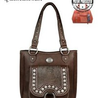 Montana West Dark Brown Western Style Floral Tooled Concealed Carry Handbag