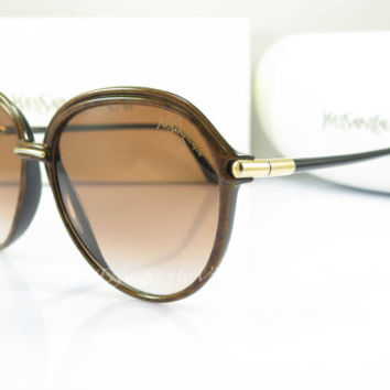 Vintage Sunglasses , Yves Saint Laurent , YSL , 8571, Brown Tortoise , 1980s, Original Case