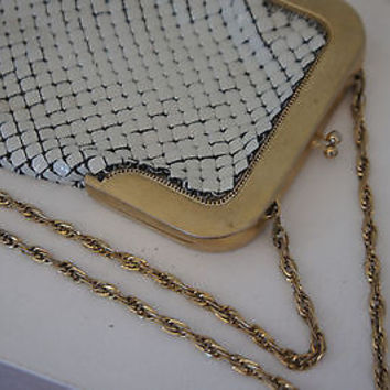 Whiting & Davis Evening Purse White Enamel Mesh Chain Design