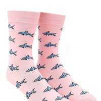Men Shark Print Crew Socks