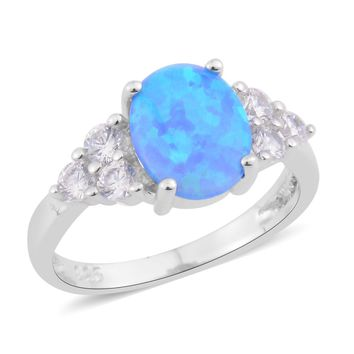 Lab Created Blue Opal, Simulated Diamond Sterling Silver Ring