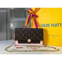 LV Louis Vuitton WOMEN'S MONOGRAM CANVAS FLORE INCLINED CHAIN SHOULDER BAG