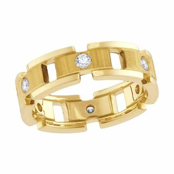 14kt Yellow Gold Men's Round Diamond Link Chain Wedding Band Ring 1-2 Cttw - FREE Shipping (US/CAN)