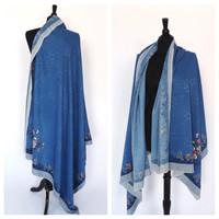 Vintage Blue Floral Wind Scarf Sarong Bohemian Shawl Silk Wrap 1920s Style Piano Scarf Long Dress Hippie Cover Up Floral Damask Print
