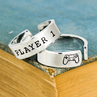 Player 1 & Player 2 Video Game Ring Set - PS4 - Gamer Gift - Best Friends - Adjustable Aluminum Rings
