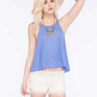 Full Tilt High Neck Double Strap Womens Tank Periwinkle  In Sizes