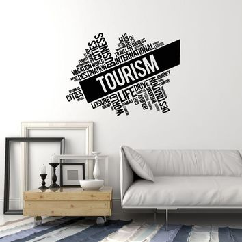 Vinyl Wall Decal Tourism Words Cloud Travel Agency Decor Idea Stickers Mural (ig5702)