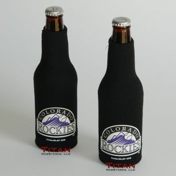 MLB Rockies Neoprene Bottle Suits | Colorado Rockies Beer Bottle Koozies - Set of 2