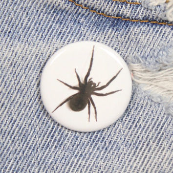 Black Spider 1.25 Inch Pin Back Button Badge