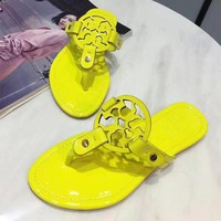 Tory Burch Tide Brand Trendy Women's Comfort Sandals Slippers F Yellow