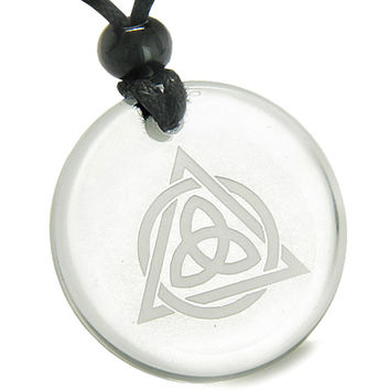 Amulet Celtic Triquetra Magic Triangular Circle Triple Power Quartz Pendant Necklace