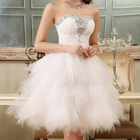 New summer dress 2014 tube top evening dress performance formal dress gauze diamond slim short design evening dresses X12