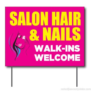 "Salon Hair & Nails Walk-Ins Welcome Curbside Sign, 24""w x 18""h, Full Color Double Sided"