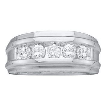 14k White Gold Round Diamond Men's Channel-set Classic 7mm Wedding Band 1/4 Cttw - FREE Shipping (US/CAN)
