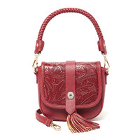 Ginger Snaps Jewelry - Tasseled & Tooled Crossbody - Red