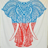 Two Tone Elephant Bohemian Boho Wall Beach Bed Tapestry