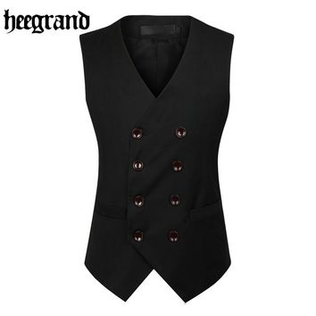 2017 New Fashion Double Breasted Slim Chaleco Sleeveless Cotton Waistcoat Suit Vest