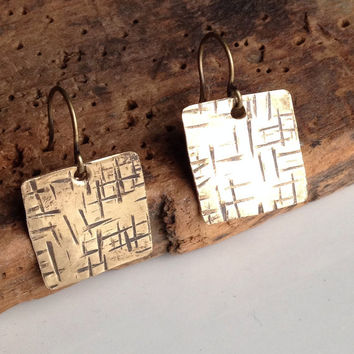 Etsy, Etsy Jewelry, Raw Brass Earrings, Square Earrings, Textured Earrings, Metalwork Earrings
