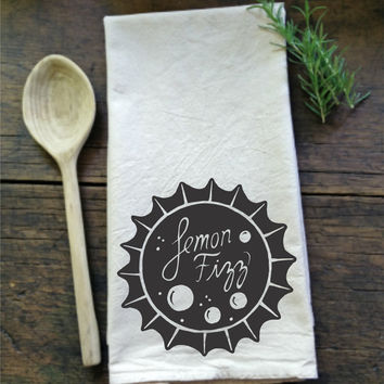 Vintage Soda Bottle Cap - Lemon Fizz - Flour Sack Tea Towel - 100% Natural Cotton - Hand Screen Printed