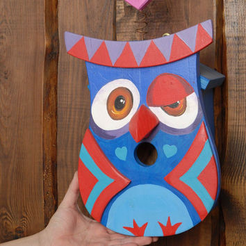 Painted wooden birdhouse owl eco friendly home decoration original present