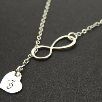 Mother's Day Infinity Necklace. Initial Necklace. Heart Necklace.Personalized Infinity Necklace Sister.Mom Jewelry.Sterling Silver.14k Gold