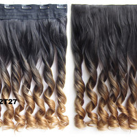 "Dip dye hairpieces New Fashion 24"" Women Clip in on gradient wig Bath & Beauty Hair Ombre Hair Extensions Two Tone Curly Hair Gradient Hair Extension Colorful Hairpieces GS-888 2T27,1PCS"