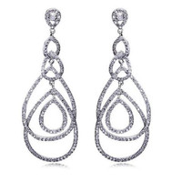 Classic Design Cubic Zircon Women Hoop Earrings,Big Drop Earrings,Cubic Zirconia Earring , Bridal Wedding Fashion Jewelry , Earrings