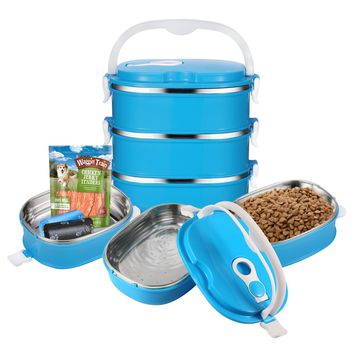3 Tier Portable Travel Dog Bow Stainless Steel Fit Water and Feed Bowl for dog cats Outdoor Traveling (3 Layer)