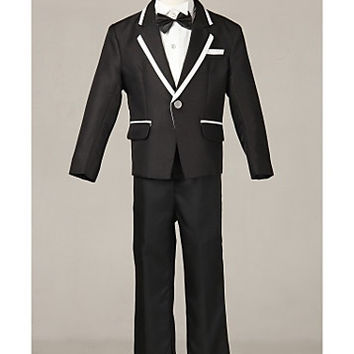 Three Pieces Black Korean Ring Bearer Suit Boys Tuxedo