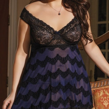 Plus Size Naughty in Navy Babydoll and G-String