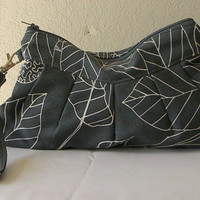 Wristlet wallet Zippered Clutch Bag Ikea Stockholm Blad in Gray, Birthday Gift ,Personalization available