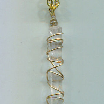 handmade wire wrapped crystal pendant necklace gold chain jewelry gemstone necklace #jewls5006