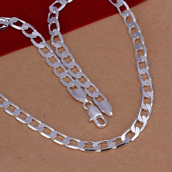 8mm Silver Plated Link Chain Necklace