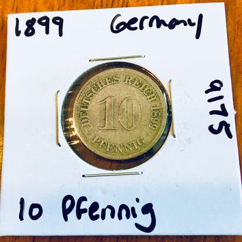 1899 German Empire 10 Pfennig Coin 9175