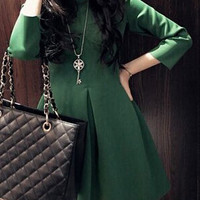 Green Quarter Sleeved Godet Design Dress