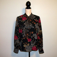 Women Kimono Size 10 Asian Blouse Black Blouse Women Shirt Asian Clothing Long Sleeve Black Red Floral Fall Pendleton Medium Women Clothing