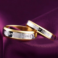 1pcs Never fade engagement 18k gold silver plated forever Love letter jewerly accessories Women & Men wedding Couple Rings