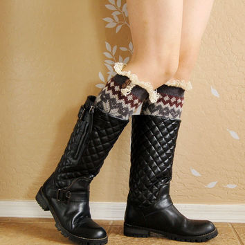 gift for her, Brithday gift,Lacy Gray with brown Leg Warmers.leg warmers with cute lace,boots socks,boots long cuffs, gift for her
