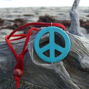 Peace Sign Pendant Necklace-TURQUOISE RED-Gifts Under 15, Gifts For Her, Stocking Stuffer, Bohemian, Turquoise Pendant, Hippy Chic, Suede