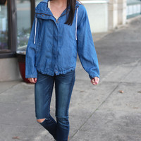 Rollup Hooded Chambray Jacket {Denim}