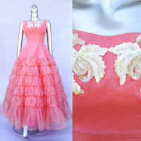 Vintage 1950s Pink Sequin Party Gown