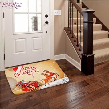 FENGRISE Flannel Merry Christmas Door Mat Rug Christmas Decoration for Home Navidad Christmas Ornaments Xmas Party New Year