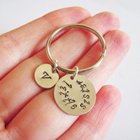 personalized little sister keychain, personalized key chain hand stamped initial, sister gift, best friends gift bff, gift for best friend