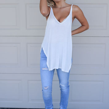 Day Trip Ivory Sleeveless V-Neck Slit Tank Top